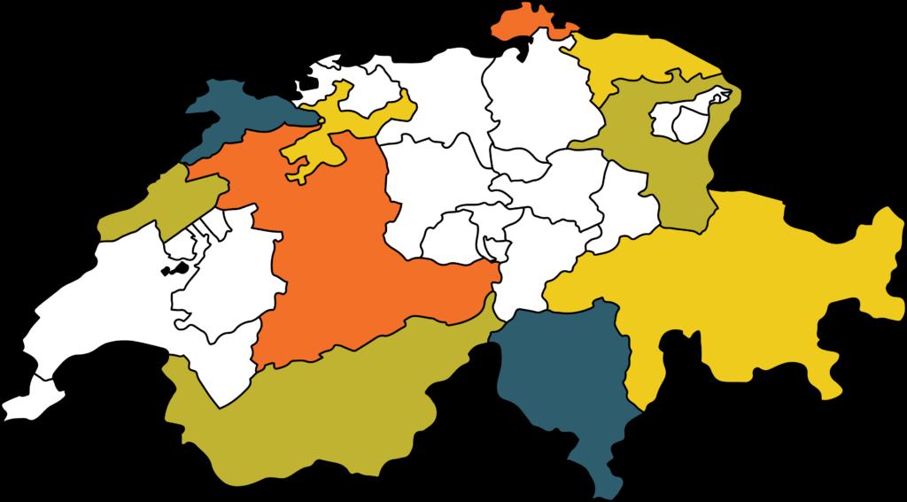 Karte der Schweiz mit eingefärbten Kantonen