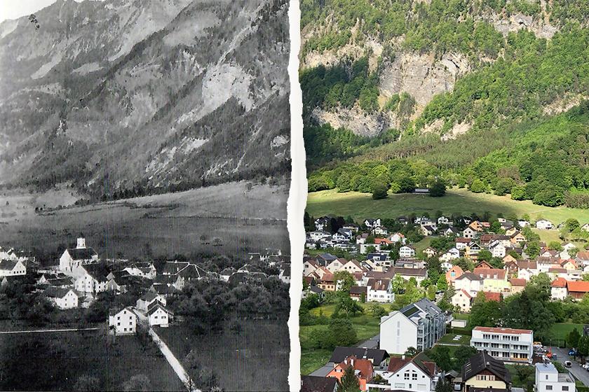 Balzers früher (ca. 1905) und heute (2020)