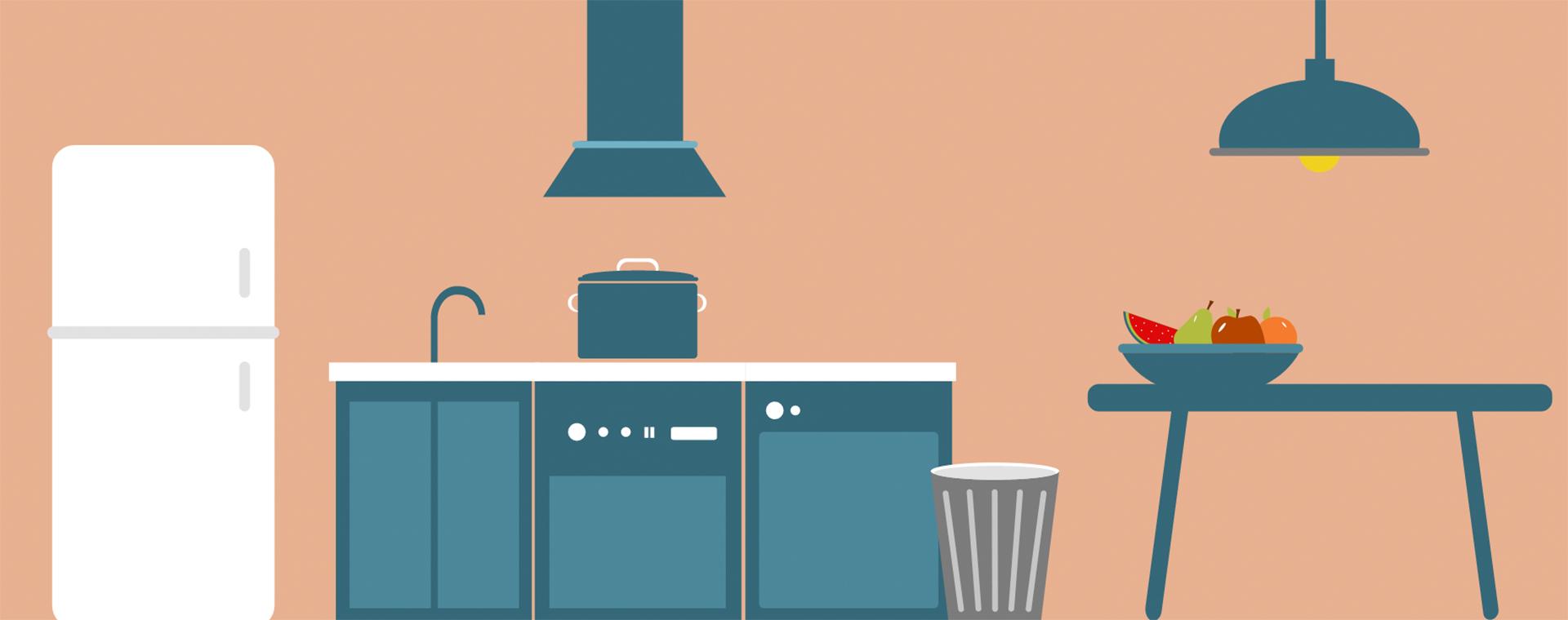 Grafisches Bild einer vereinfacht dargestellten Küche mit Esstisch (eigene Darstellung).